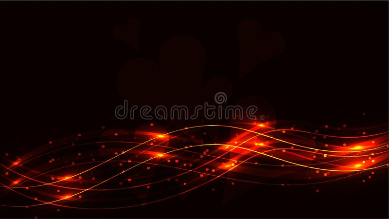Yellow gold transparent hearts and abstract shining magical cosmic magical energy lines, rays with glare and dots and light shines royalty free illustration