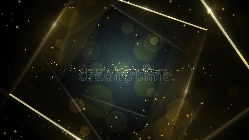 Yellow, gold virtual abstract background space tunnel with neon line lights. vector illustration