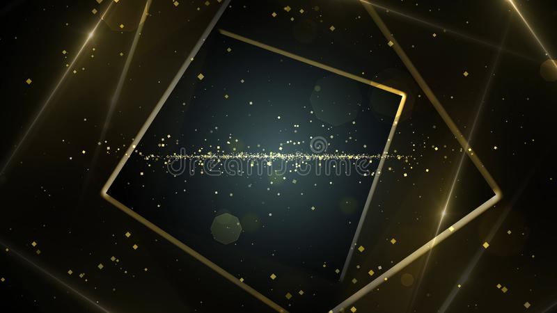 Yellow, gold virtual abstract background space tunnel with neon line lights. stock illustration