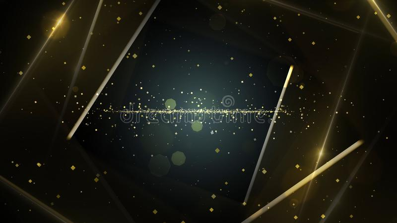 Yellow, gold virtual abstract background space tunnel with neon line lights. royalty free illustration