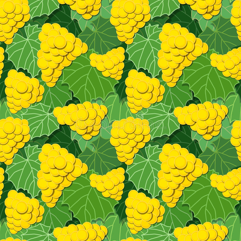 Yellow Grapes and Leaves. Seamless background pattern of yellow grapes and green leaves, vector illustration eps10 vector illustration