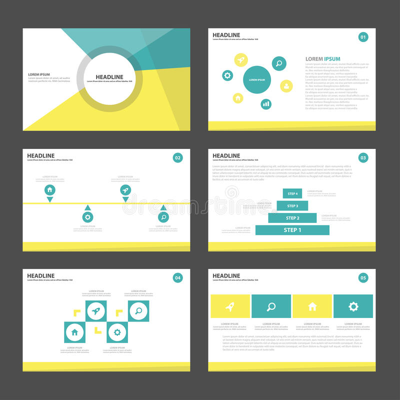 Yellow green Abstract presentation template Infographic elements flat design set for brochure flyer leaflet marketing royalty free illustration