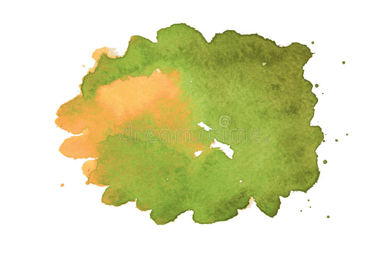 Yellow and green abstract watercolor spot. Yellow and green abstract watercolor blot on embossed paper isolated on white background. Abstract watercolor pattern royalty free stock photos