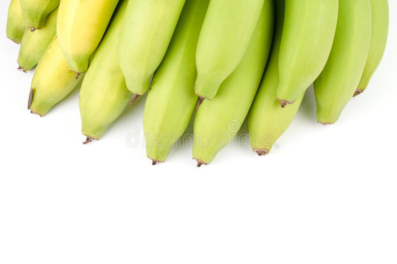 Yellow Green Banana Comp. Close up Yellow Green Banana Comp on white background and have copy space royalty free stock photo