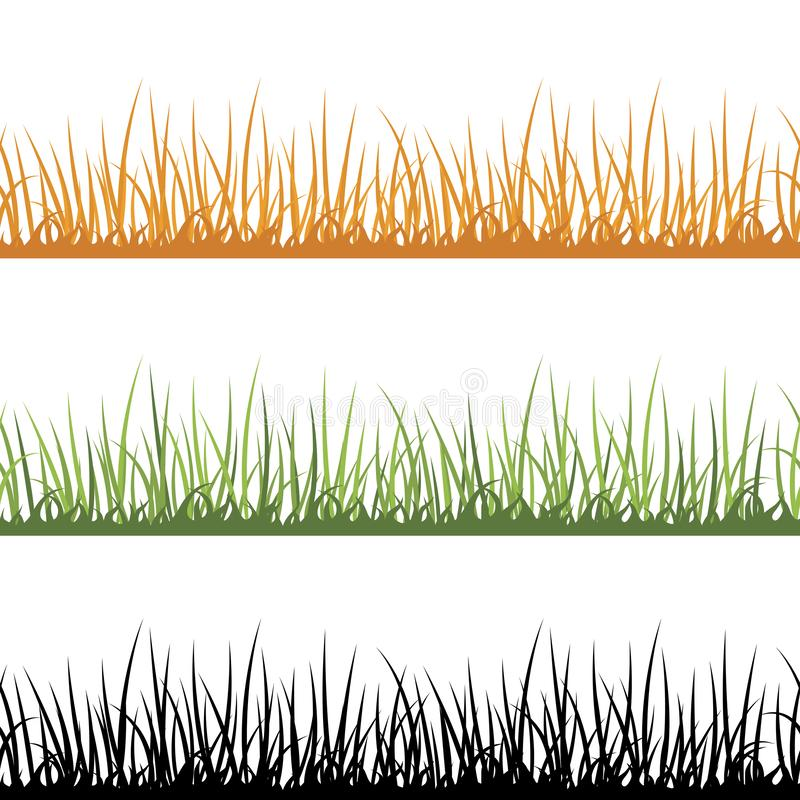 Yellow, green and black grass isolated on white background. Set of grass nature multicolored design elements. Lawn. Vector illustration vector illustration