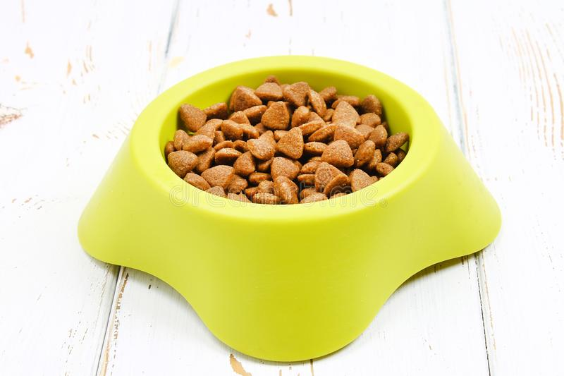 Yellow-green bowl with dry cat food on a white wooden floor royalty free stock image
