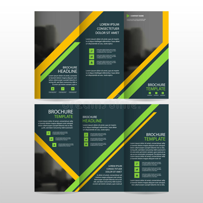 Yellow Green business trifold Leaflet Brochure Flyer report template vector minimal flat design set, abstract three fold stock illustration
