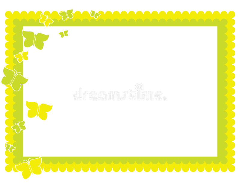 Yellow green butterfly frame vector illustration
