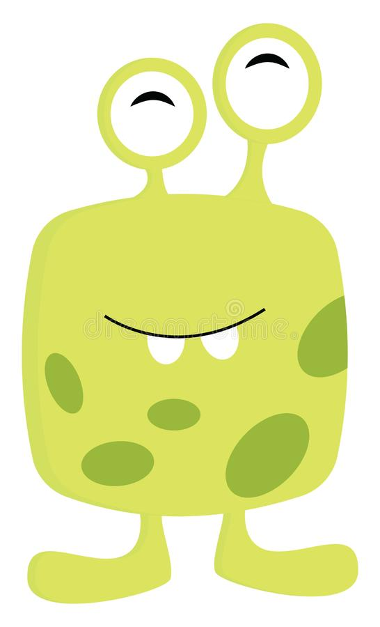 Yellow and green 2 eyed monster illustration print vector. On white background stock illustration