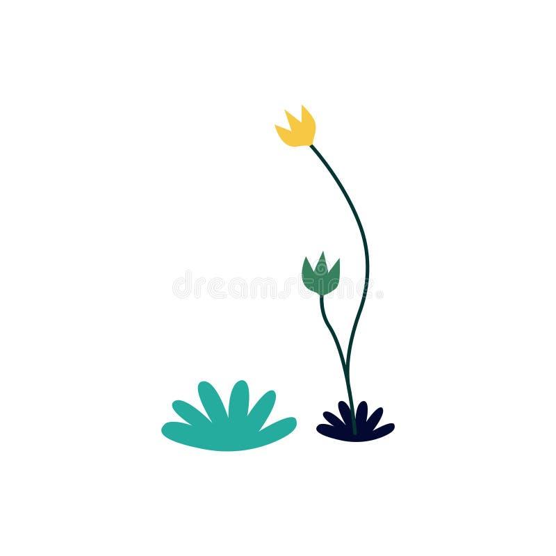 Yellow and green flower illustration stock illustration