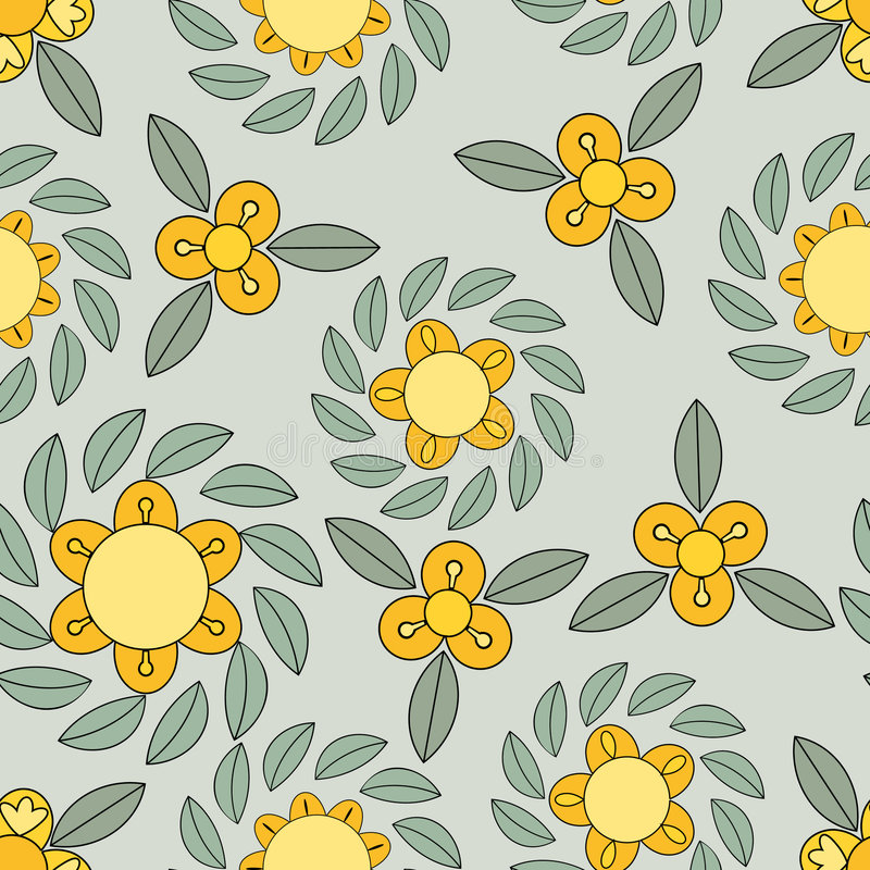 Yellow And Green Flower Pattern Stock Images