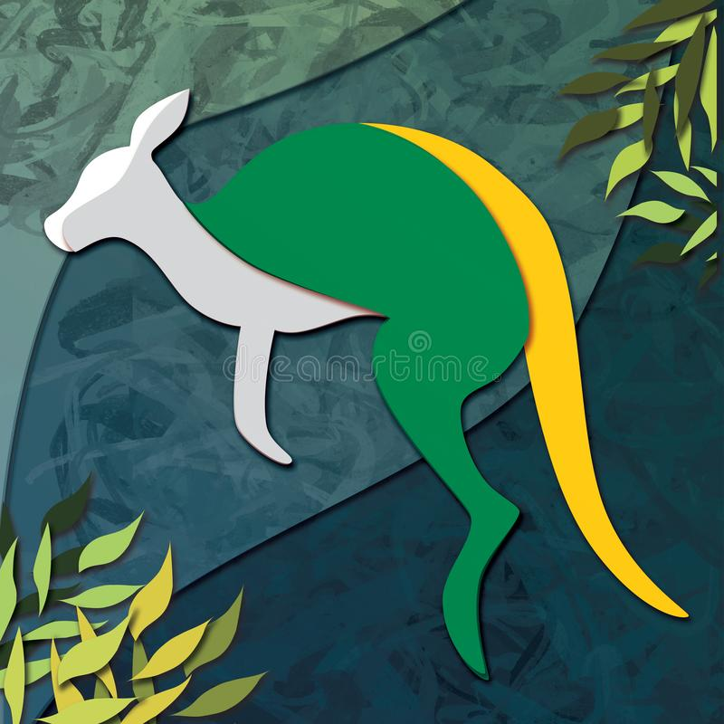 Yellow and Green Kangaroo Illustration against a Blue Green Background. An illustration of a green and gold kangaroo hopping towards the left against a textured vector illustration