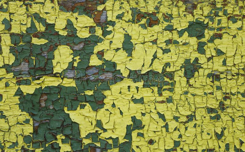 Yellow green  old painted wooden surface with peeling cracked paint royalty free stock photo