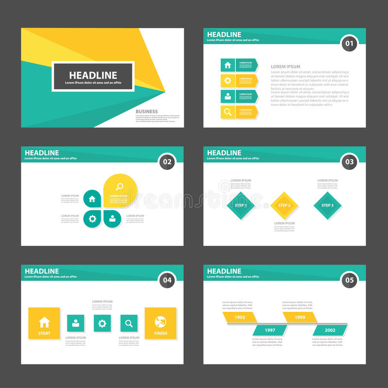 Yellow green presentation template elements icon flat design set for advertising marketing brochure flyer vector illustration