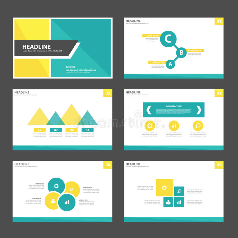Yellow and green presentation template Infographic elements and icon flat design set advertising marketing brochure flye royalty free illustration