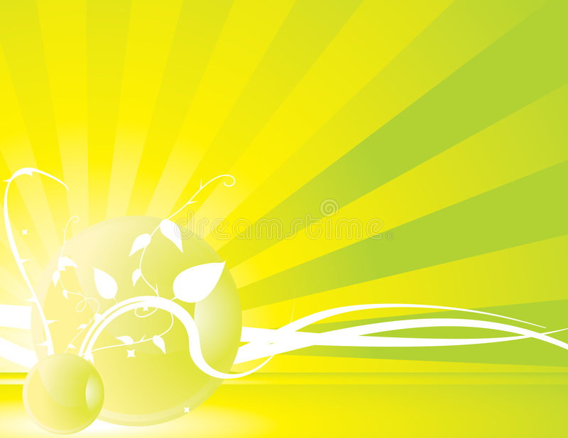 Yellow green radiating ray background 1 vector illustration
