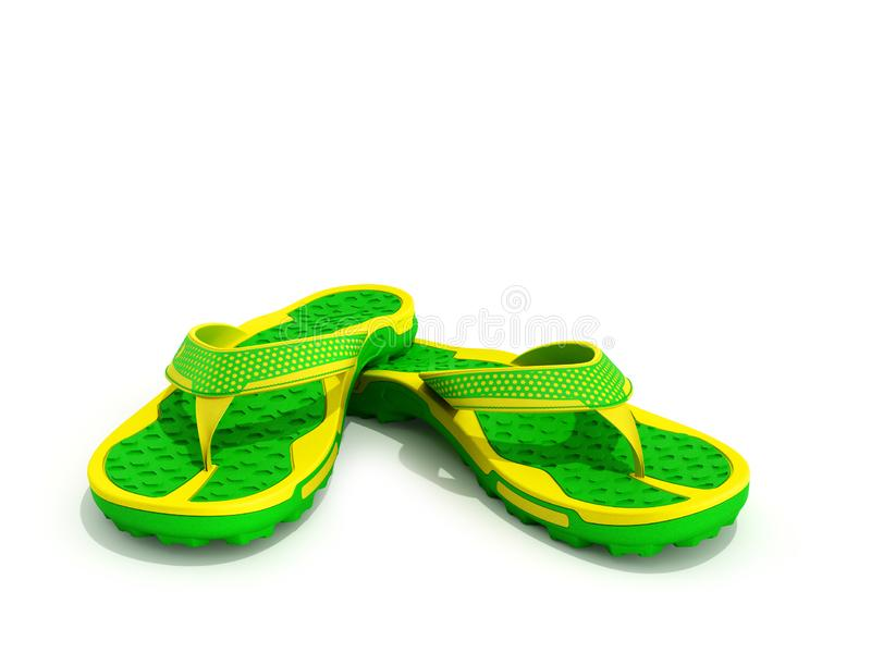 yellow and green rubber male beach slipper sneaker with perforation 3d render isolated on white stock illustration