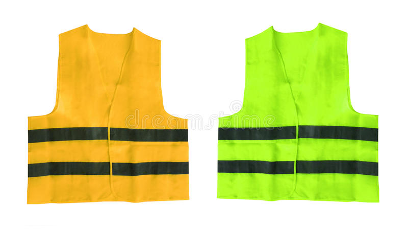 Yellow and green safety vest isolated. On white background stock images