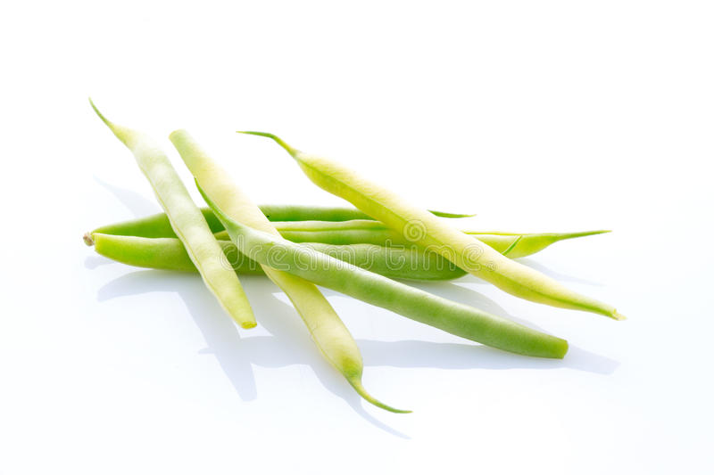 Yellow and green string bean isolated on white. Background royalty free stock photos