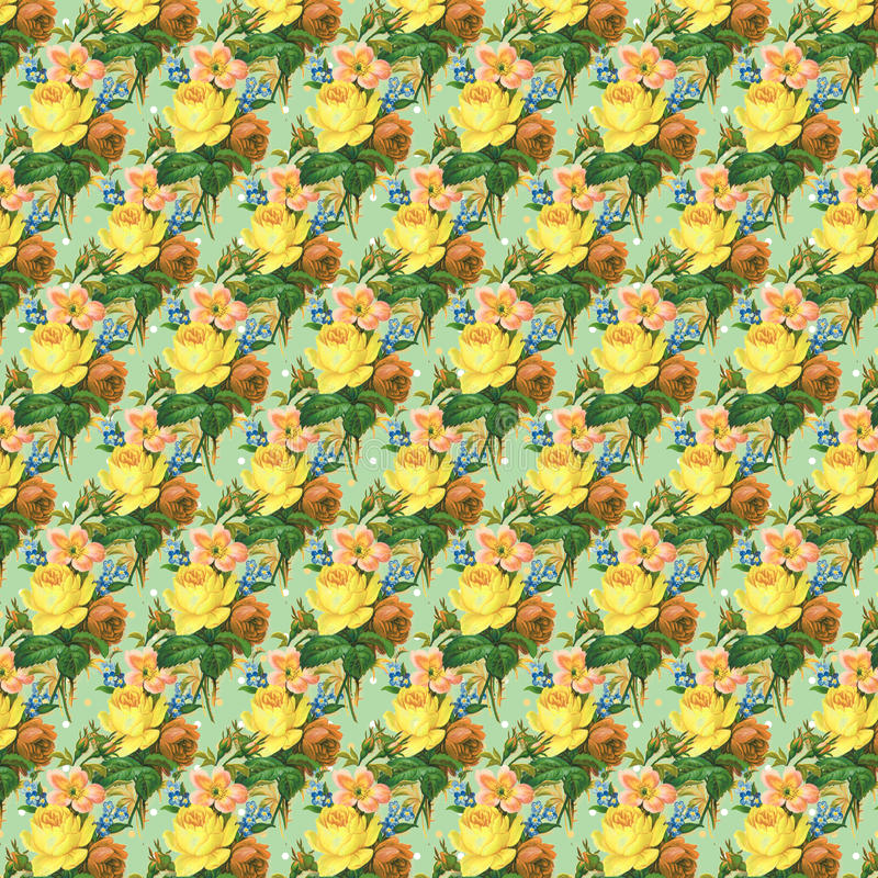 Yellow and green vintage rose flower wallpaper background repeat stock illustration