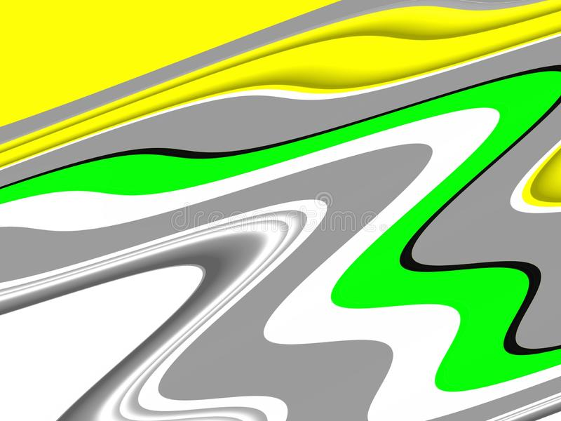 Yellow green white waves fluid shapes, geometries background on black background royalty free stock photos