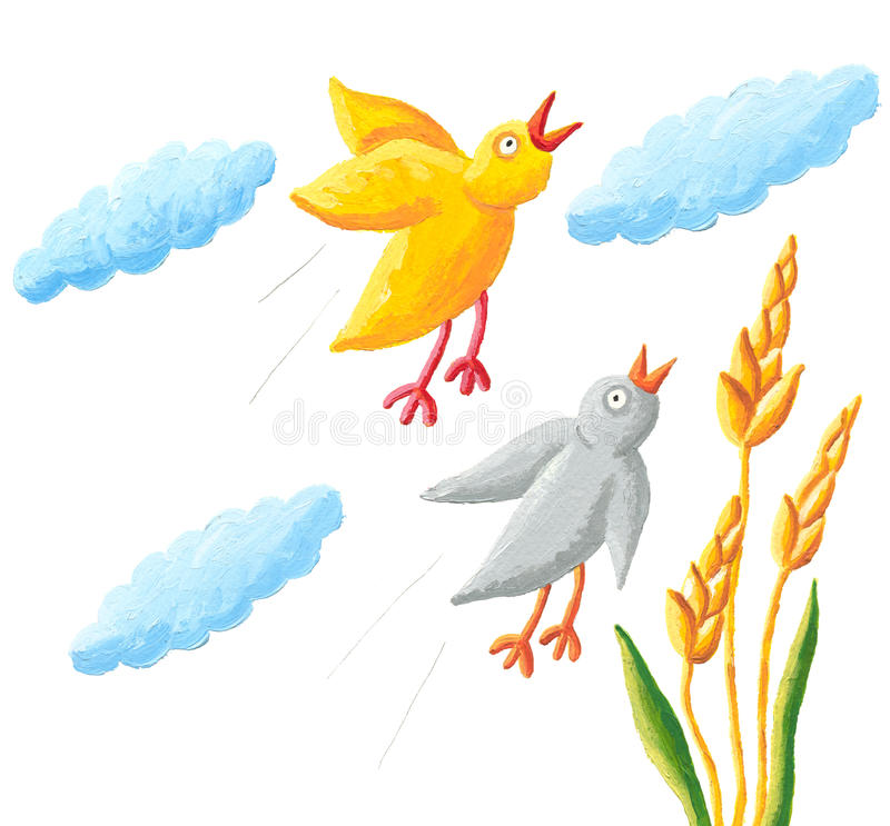 Yellow and grey birds fly. Illustration of yellow and grey birds fly royalty free illustration