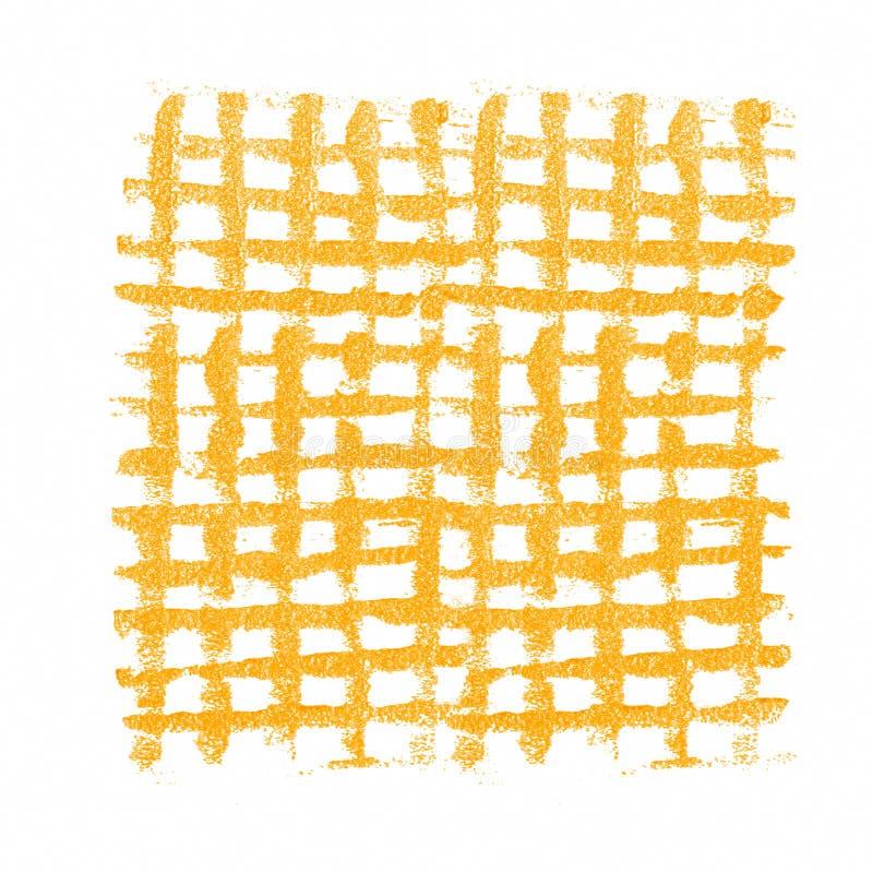Yellow grunge mesh. Checkered acrylic background. Isolated on white stock images