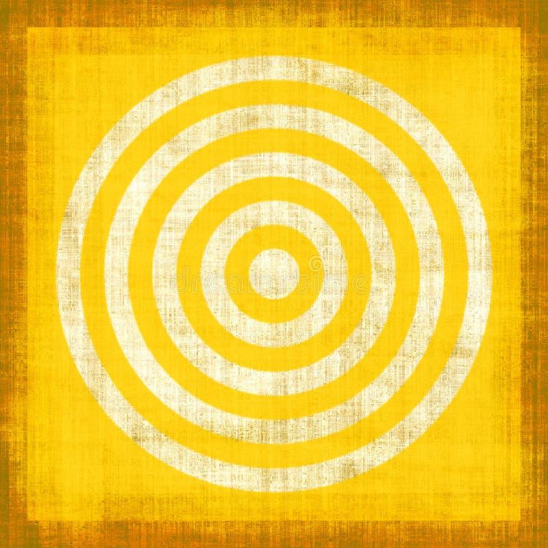 Yellow Grunge Target. Yellow target design on textured canvas grunge style stock illustration
