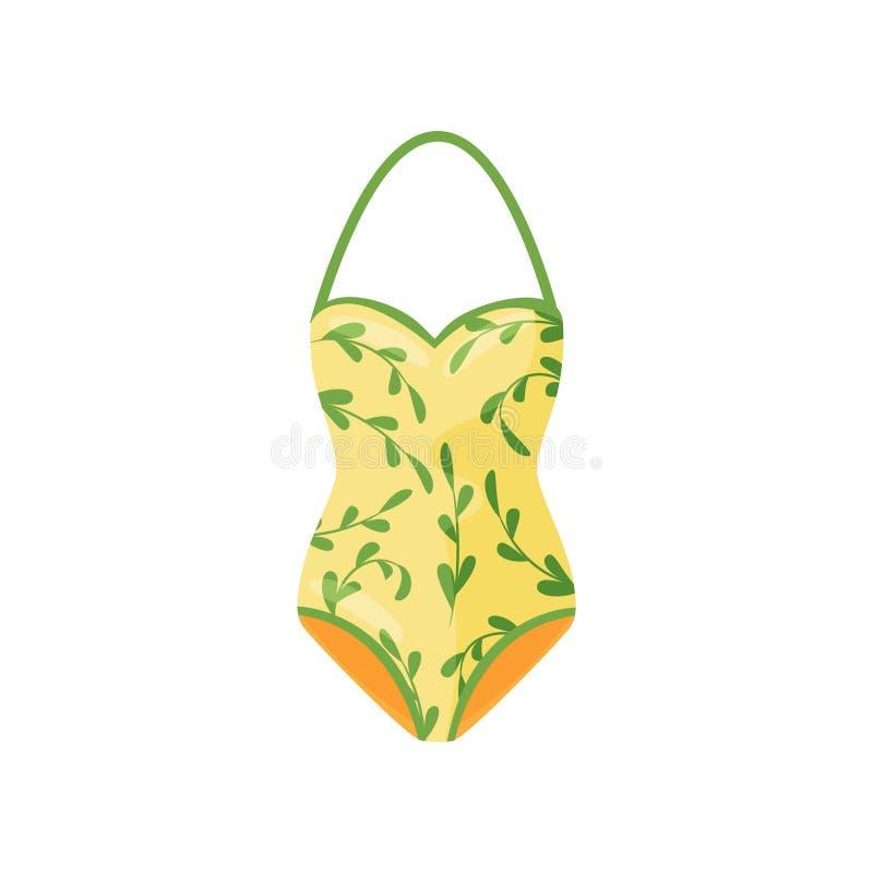 Yellow halter swimsuit with natural pattern. Women clothing. Stylish swimwear. One-piece bodysuit. Flat vector icon stock illustration