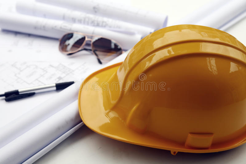 Download Yellow hard hat stock image. Image of instrument, drafting - 21349683
