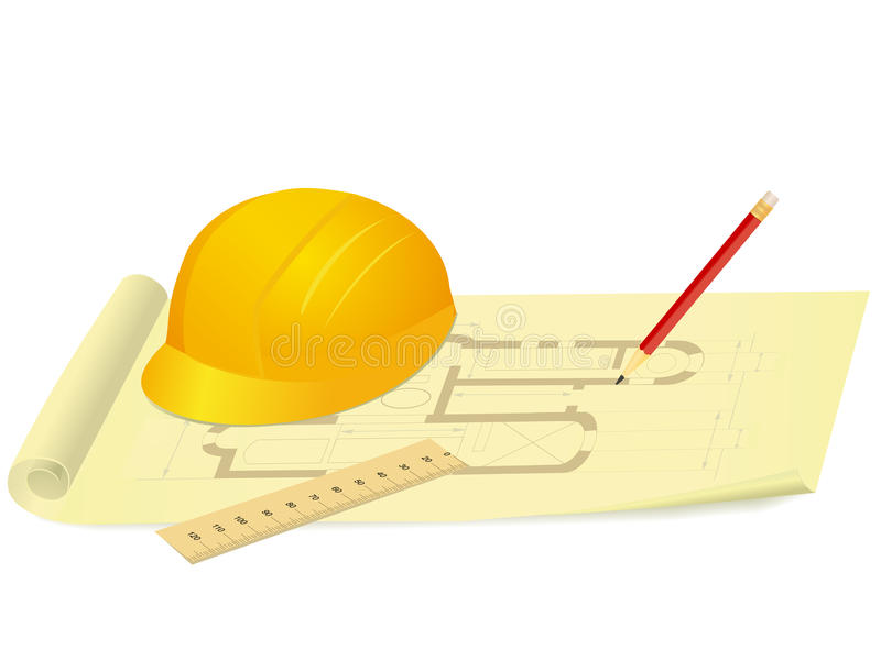 Download Yellow Hard Hat Ruler And Pencil On House Plan Drawing Vector Illustration Stock