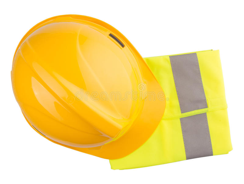 Yellow Hard Hat and Yellow Vest III. Yellow hard hat and yellow reflective best over white background stock photos