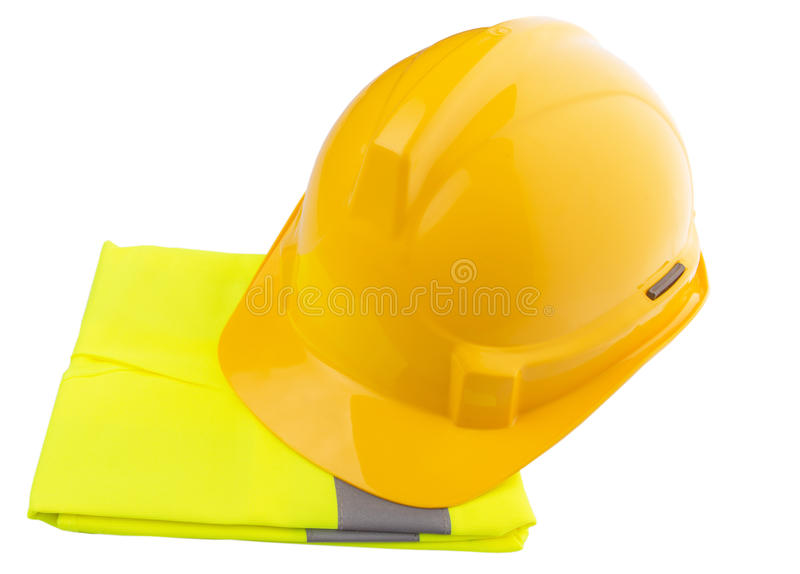 Yellow Hard Hat and Yellow Vest VI. Yellow hard hat and yellow reflective best over white background royalty free stock images
