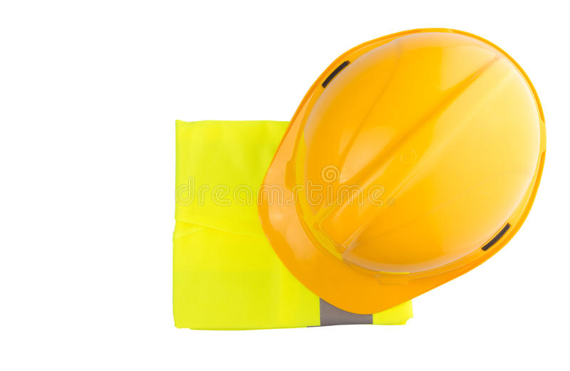 Yellow Hard Hat and Yellow Vest VII. Yellow hard hat and yellow reflective best over white background stock photography