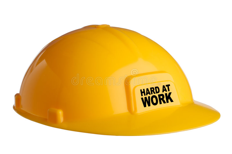 Yellow Hardhat with text royalty free stock photo