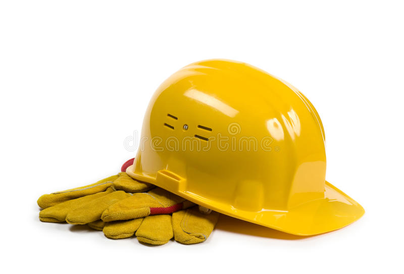 Yellow hat and gloves stock photos