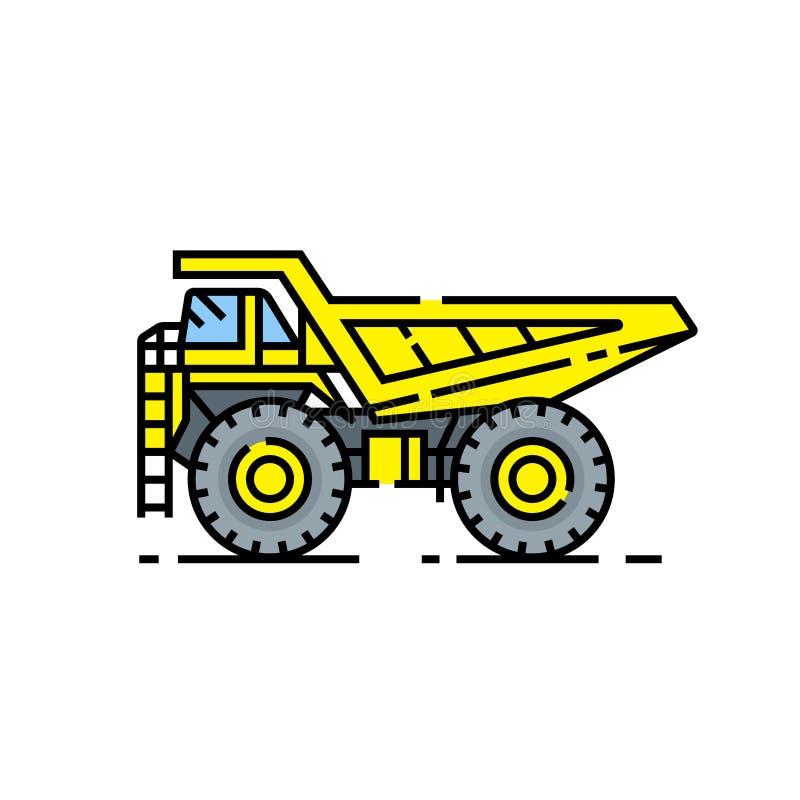 Yellow haul truck line icon. Haul truck line icon. Heavy industry dump truck symbol. Large yellow construction vehicle sign. Vector illustration vector illustration