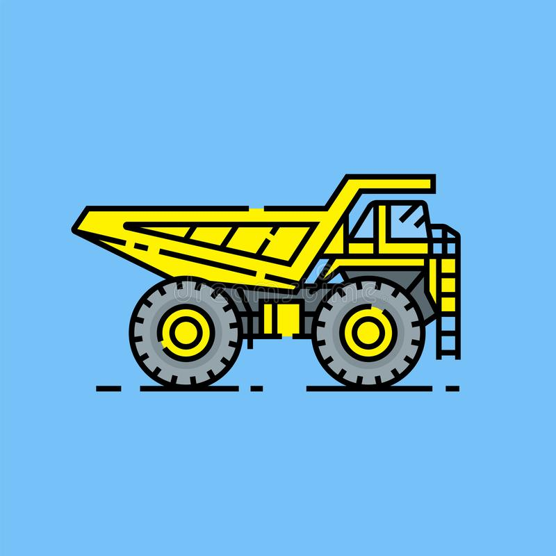 Yellow haul truck line icon. Heavy industry dump truck symbol. Large yellow construction vehicle graphic isolated on blue background. Vector illustration royalty free illustration