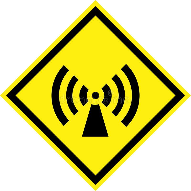 Yellow Hazard Sign With Non Ionizing Radiation Stock Illustration