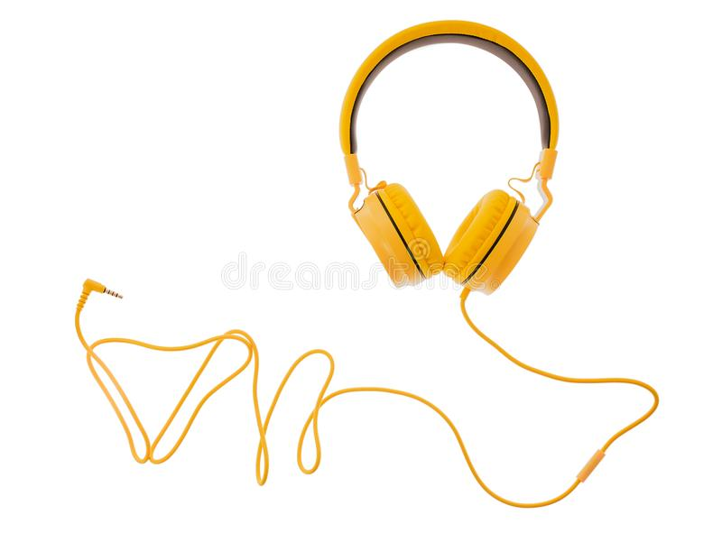 Yellow headphones or earphone computer isolated on a white background.  royalty free stock photography