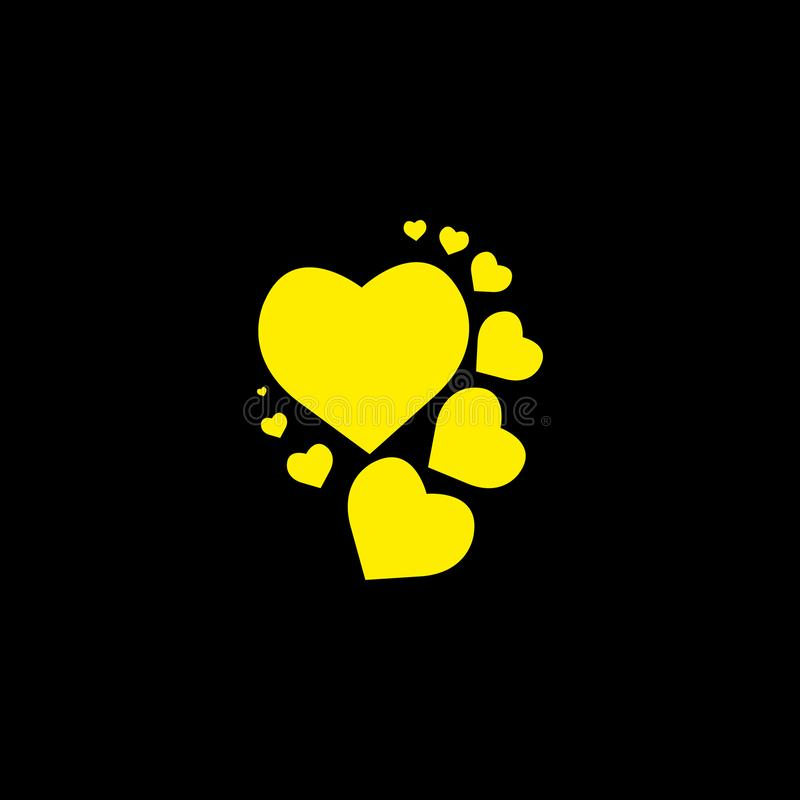 Yellow heart black background. Vector illustration. eps 10. Yellow heart black background. Vector illustration.eps 10 vector illustration