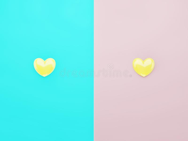 Yellow hearts shining and centered over blue and pink backgrounds stock photo
