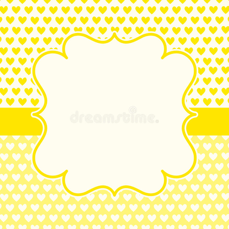 Yellow hearts valentines day card royalty free stock images