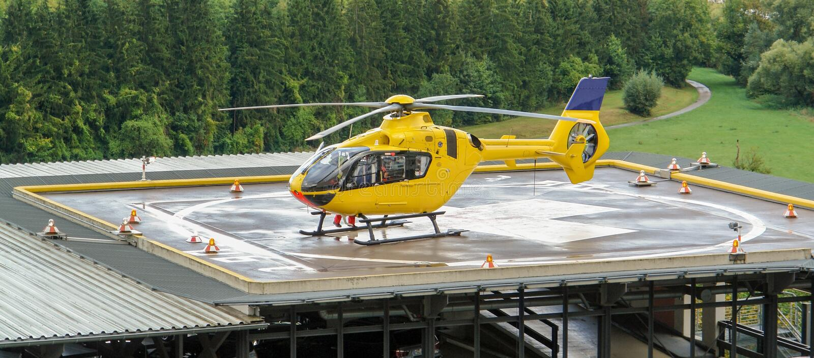 Yellow helicopter royalty free stock photos