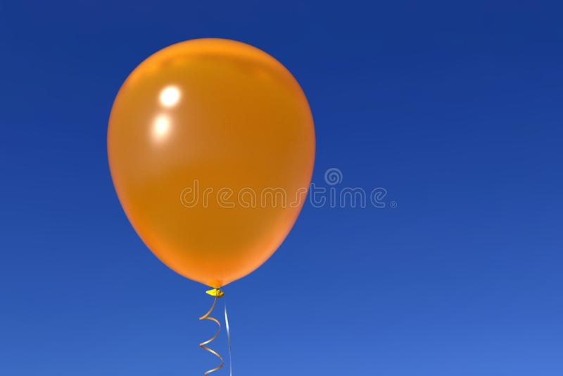 Yellow helium balloon with ribbons on blue sky. Single shiny yellow helium balloon with shiny ribbons, floating on deep blue sky background. Celebration, joy stock images