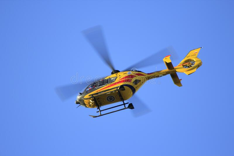 Yellow Hellicopter Flying Free Public Domain Cc0 Image