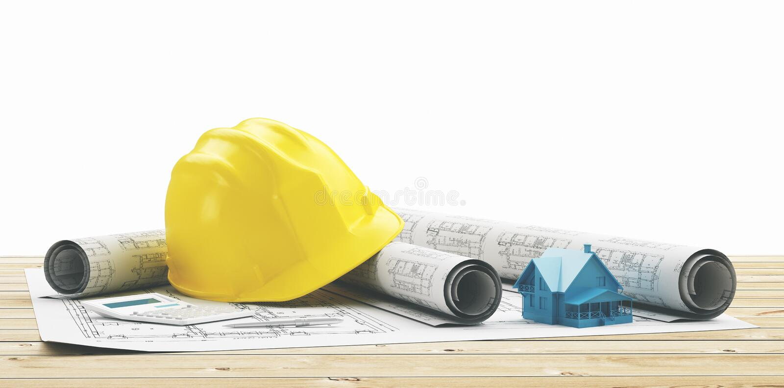 Yellow helmet with building projects and house. Helmet with projects for new building or house stock images