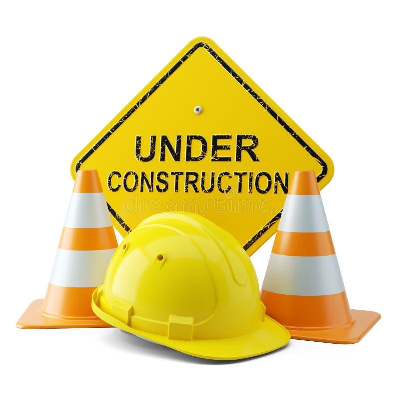 Yellow helmet, traffic cones and signboard under construction. 3d vector illustration