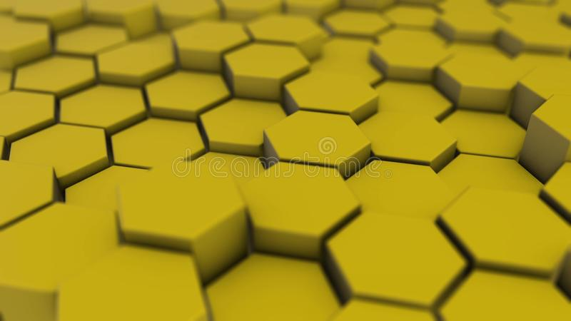 Yellow hexagon geometry background. 3d illustration of simple primitives with six angles in front stock illustration