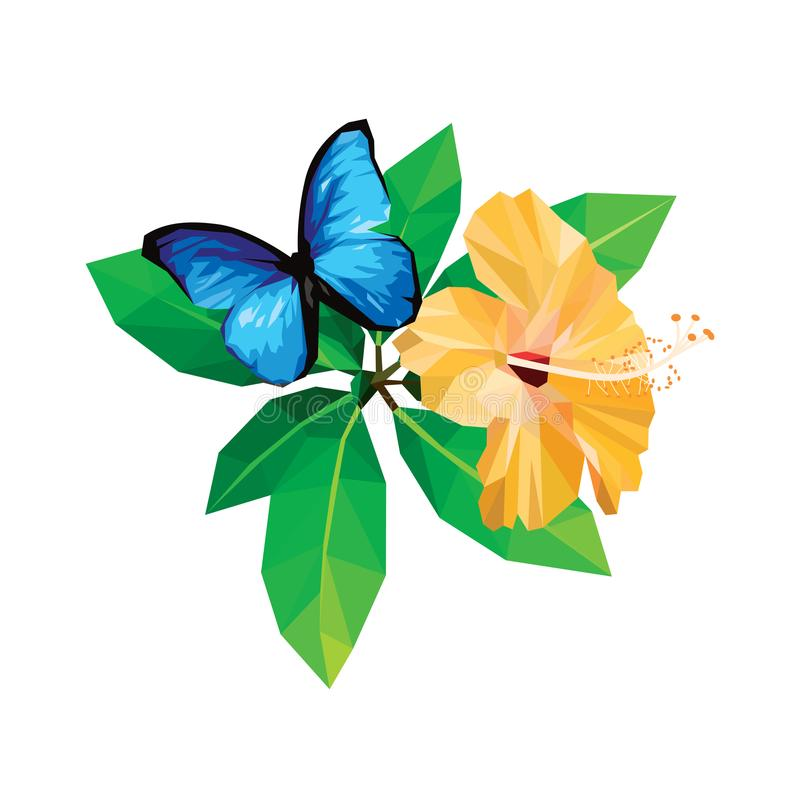 Yellow hibiscus blue butterfly isolated on white background low polygon design vector illustration